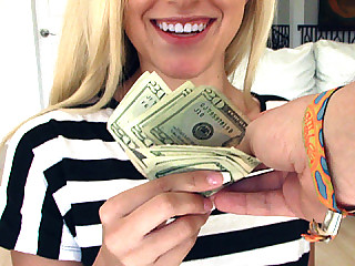Blonde Bree Mitchells gets offered for some quick cash for fucking